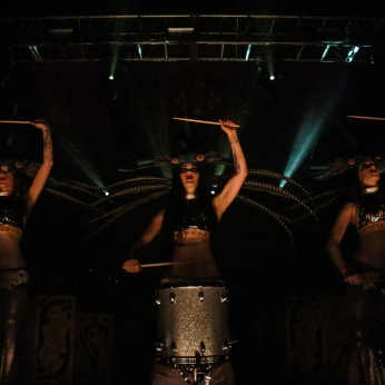 Zoe Jakes (middle), belly dancer and performer for Beats Antique, and others perform a drumming number at the Creature Carnival. The event was held on Wednesday at the Complex. Other performers like Emancipator and Shpongle played for costumed and masked attendees.